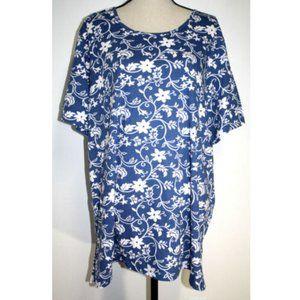Blair Womens 2XL Knit Top Blue White Floral Tee